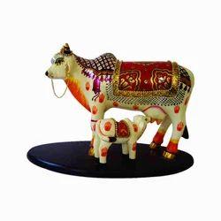 Kamdhenu Marble Cow Calf Statue