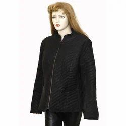 Leather Ladies Slant Striped Jacket