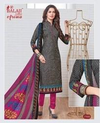 Balaji Cotton Pure Cotton Printed Dress Material With Chiffon Dupatta With Lace
