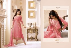 Glossy Simar Colour Plus Nice Peach Colour Georgette Straight Cut Pakistani Suits