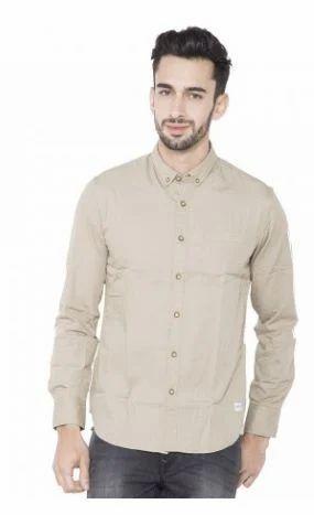 ccd47b35b0 Flying Machine Plain Khaki Full Sleeve Men Shirt