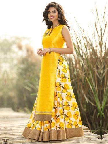 Yellow Bhagalpuri Plazo Suit Amp Ladies Dress Wholesale