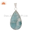Natural Larimar Gemstone Sterling Silver Pendant Jewelry