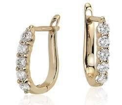 Real Diamond Hoop Earring in 14K Yellow Gold