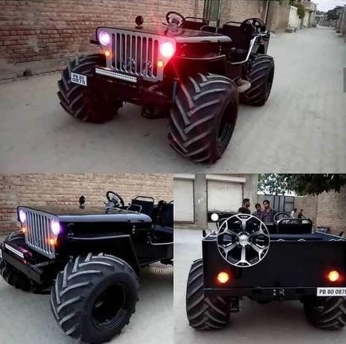 Modified Jeep In Big Tyre