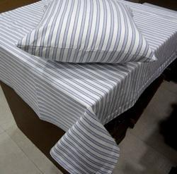 Grey Striped Decorative Table Throw