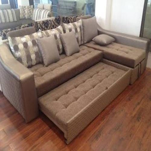 Suede Light Brown L Shaped Sofa Cum Bed, Rs 30000 /piece Unique Furniture & Interior | ID: 13786159230