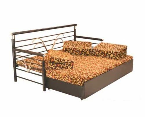 Black Mild Steel Folding Sofa Bed, Queen Size Folding Sofa Bed
