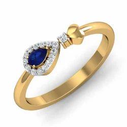 Blue Stone Gold 14K Diamonds Ring