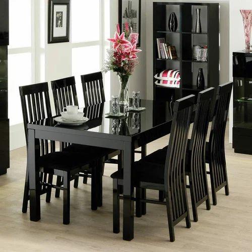 Designer 6 Chairs Dining Table At Rs 24500 Set Black Dining Table White Dining Table ड इन ग ट बल Hkgn Furniture Bengaluru Id 12749829391