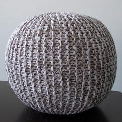 Beige Knitted Pouf