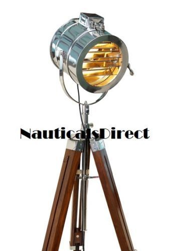 Studio nautical chrome searchlight floor lamp tripod wooden studio nautical chrome searchlight floor lamp tripod wooden aloadofball Images