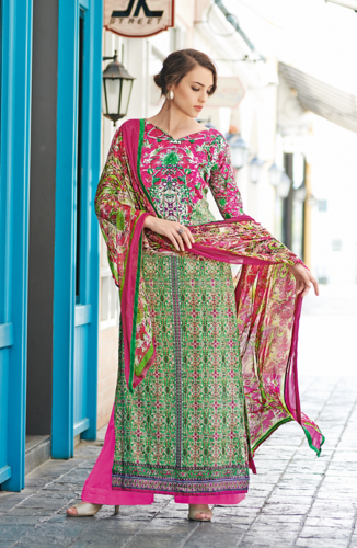 2c45b0ddb8c Magenta and Green Unstitched Glaze Cotton Salwar Kameez at Rs 1925 ...
