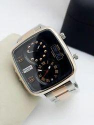 Silver Men Diesel Black Dial Watch