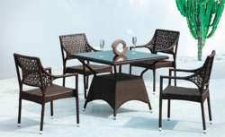 Ebony Style Wicker Outdoor Coffee Set