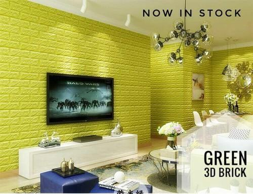 white and green brick style 3d wall sticker, size/dimension: 700