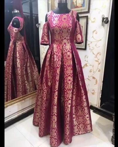 Pink.. Brocade Printed Flour Length Gawn, Rs 5999 /piece Yogi Fashion  Boutique | ID: 15761508262