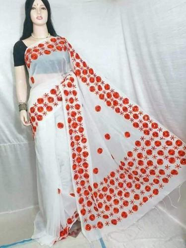 Embroidery Work Fancy Cotton Saree, Length: 6.3 m