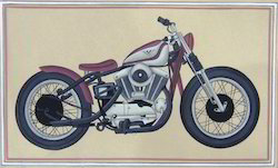 Harley Davidson Paper Painting, Size: 8''x10''