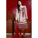 Georgette Multicolor Neck Embroidered Ladies Suit, Size: Large