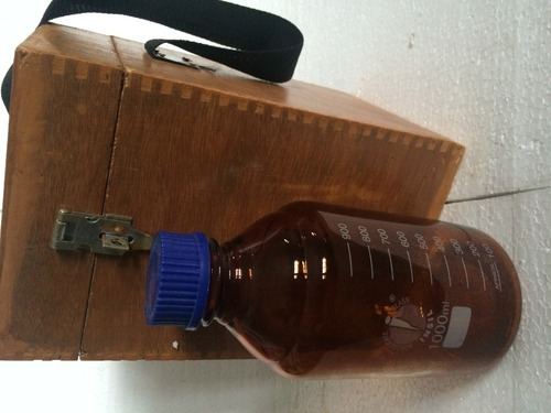Sample Reagent Bottle, Screw Cap, Amber, With Wooden Box - Pinnacle