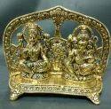 Aluminium Silver Ganesh Lakshmi Singhasan
