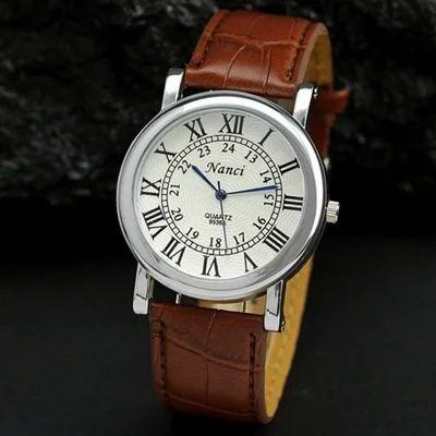 Men' s Dress Watch Brown, Black Roman Numerals Dial