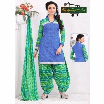 3eb859bdf8 Cotton Printed Unstitched Patiala Suits, पटियाला सूट ...