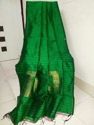 Tant Cotton Cooton Silk Secquin Saree's, Hand, 6 m (with blouse piece)