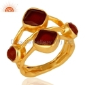 Natural Garnet Gemstone Gold Plated Ring Jewelry