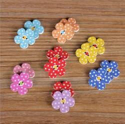 Multicolor Flower Shaped Wood Buttons