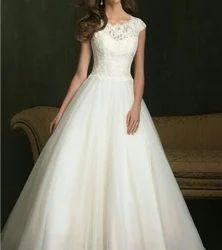 White Net Lace Satin Bridal Gown