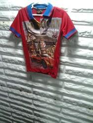 Cotton Red Printed Casual Wear Boys T Shirt