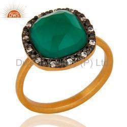 Designer Gold Plated Green Onyx Gemstone Ring