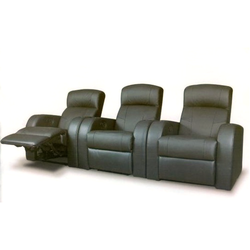 Black Leather Recliner Seating, Seating Capacity: 3