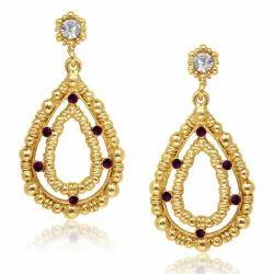 Jewelmaze Oval Gold Plated Earrings