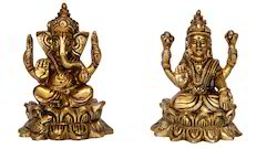 Brown Solid Brass Metal Ganesha-Laxmi Statue for Home
