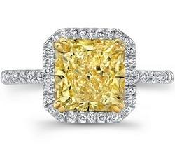 Yellow Princess Cut Diamond Engagement Ring