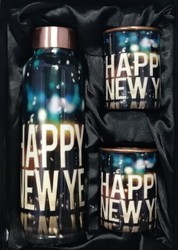 K&T Black Printed Bottle Set For New Year, Round