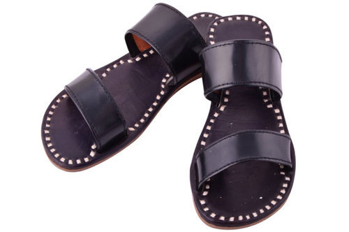 M B Exports Flats Black Leather Slippers