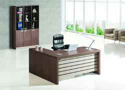 Wooden Executive Table, For Office, Dark Brown