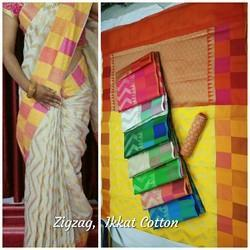 Printed Festive Wear Ikkat Cotton Fancy Saree, 6.3 M (with Blouse Piece)