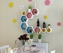 Colorful Hexagon Set Of 3 Wall Shelves