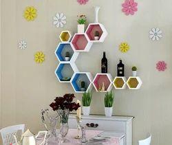 Colorful Hexagon Set Of 3 Wall Shelves