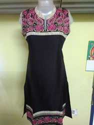Large Straight Synthetic Kurti With Embroidery