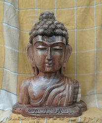 Wooden Lord Buddha Head Statue 18 Inches