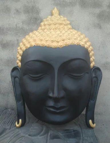 Black Modern Buddha Sculptor in Fiber, Size (Inches): 24x36
