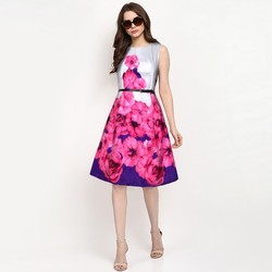Plain   Solid Fashionoma Casual 3 4 Sleeves Peach Skater Dress 9f02d5ad8