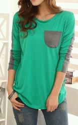 Cotton Full Sleeve Green and Grey Ladies Tops T Shirt