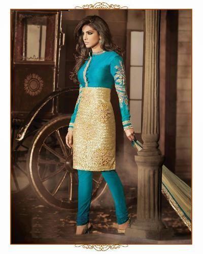 Two Colour Combination Georgette Desiner Salwar Suit Bindani